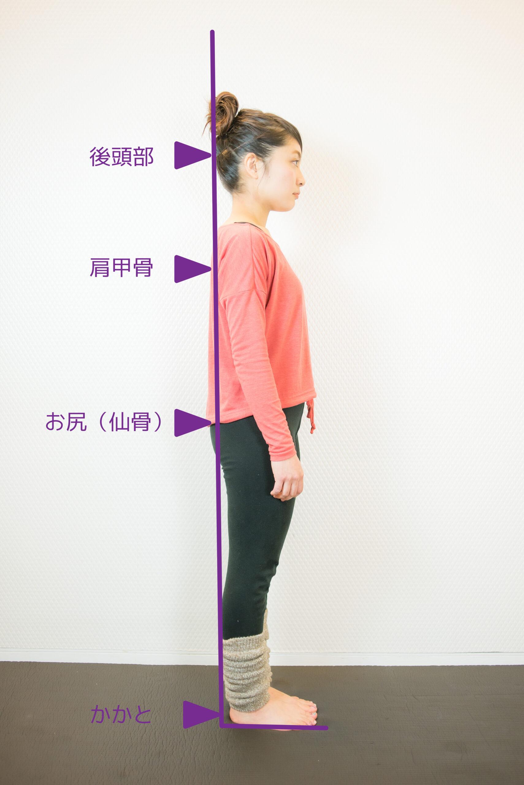 壁を使った姿勢のチェック
